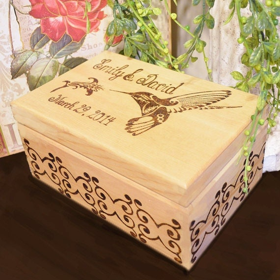 Personalized Wood Burned Wedding Couple Box