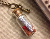 Personalized Message in a Bottle Necklace with Sand, Heart and Key - Gift - Valentine's Day - Love - Customized