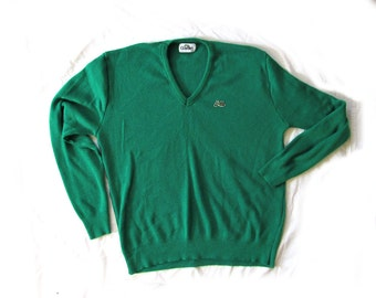 vintage sweater mens 80's kelly green v neck 1980's clothing size extra large xl