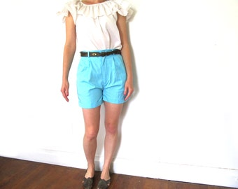 vintage shorts turquoise blue 80's high waisted preppy womens clothing 1980s size extra small xs s