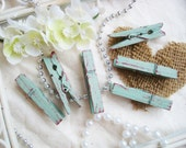 Sage & Cranberry Distressed Mini 2 Inch Clothespins Set of 6 - Shabby Chic Home Decor. Rustic Wall Art. Banner Holder. Wedding.