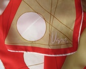 Vintage VERA hand rolled rayon silk scarf -  geometric, red, white, made in Japan