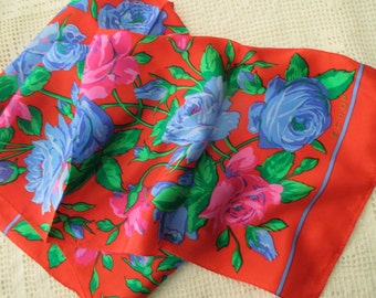 vintage Echo red silk scarf - roses, blue, shocking pink, green