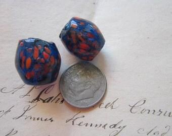 2 vintage handmade glass beads - spatter glass, speckled, confetti - COBALT blue, fused glass