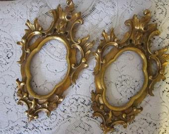 2 vintage wood frames - made in ITALY - gold leaf, baroque, florentine, hollywood regency