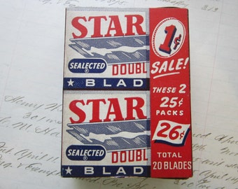 vintage STAR razor blade box with 20 razors - vintage advertising - SEALECTED, used blade compartment