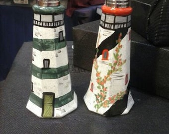 Painted Glass Lighthouse Salt and Pepper Shakers Hand-painted Glass Salt & Pepper Shakers by Lisa Hayward