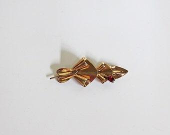 Art Deco Gilded Sterling Leaf Brooch Pin Red Rhinestone