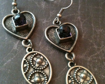 Antiqued Silver Victorian Gothic Heart with Crystal Earrings