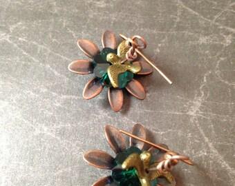 Bird in A Flower Victorian Earrings