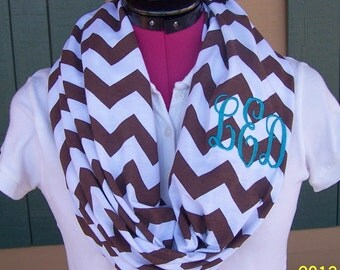 Monogrammed Carafe Brown and White Chevron Infinity Scarf  Jersey Knit