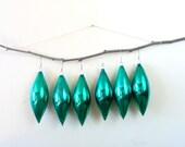 tear drop german glass emerald christmas ornaments - december - green - set of six