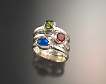 Stackable Mothers ring set of Three rings Made to order in Sterling Silver Handmade in your size Birthstone rings
