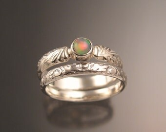 Opal victorian wedding set made to order in your size set in Sterling Silver Engagement ring with matching band