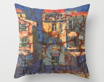 French Windows Watercolor Batik Throw Pillow Cover