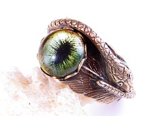 Steampunk Ring Feathered Serpent Ring Snake Ring Brass Ring Mens Snake Ring Unisex Snake Eye