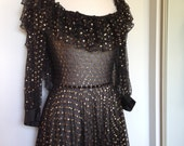 Oscar worthy vintage WAYNE CLARK COUTURE Gown Dress In Black With Gold Polka Dot Detailing