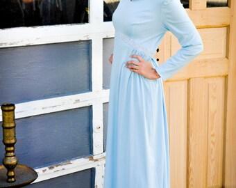 Hippie Boho Glam Blue 1970s ZIG ZAG Embellished Gown Dress