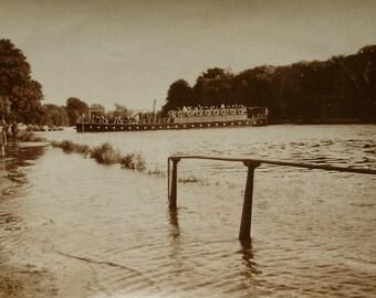 Vintage / Antique Photo - Boat on a Flooded River