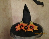 Sunflower Witch Hat -  Fall Witch Hat -  Primitive Witch Hat - Adult Witch Hat - Halloween Witch Hat