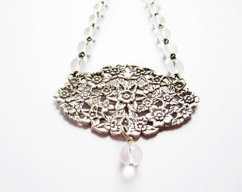 SALE! Vintage Large Silver Floral Filigree w Clear Crystal Bead Chandelier Chain - The Floral Victorian - 18 inch