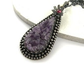 Purple metalwork necklace, amethyst necklace, sterling silver jewelry, gemstone jewelry