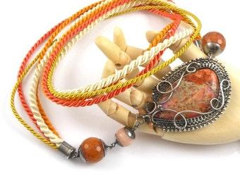 Wire wrap necklace, sterling silver orange necklace, gemstone wire wrapped jewelry, fine jewelry, autumn jewelry
