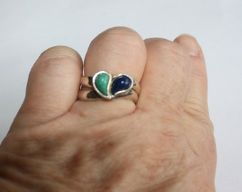 Vintage Interlocking Sterling Silver Rings with Polished Blue and Green Stones, Size 9