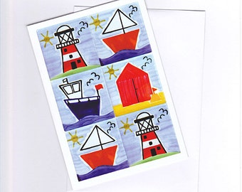 Seaside Greeting Card, Nautical Card, Birthday Card, Blank Card