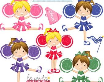 Gimme A CHEER Cute Digital Clipart - Commercial Use OK - Cheerleading Clipart, Cheerleading Graphics, Digital Art