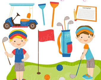 Golfing Boys Cute Digital Clipart - Commercial Use OK - Golf Clipart, Golf Graphics