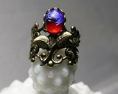 Opal Ring Red Glass Opal, Warm Gold Floral Filigree Adjustable Ring, Vintage Autumn Garden