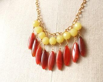 Statement Necklace, Red Necklace, Bib Necklace, Gemstone Jewelry, Statement Jewelry
