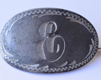 Vintage Monogram E Brooch Engraved Silver Brooch