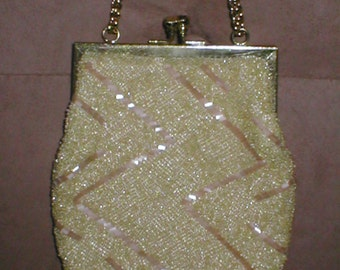 Vintage light Yellow  Beaded Evening Bag Purse