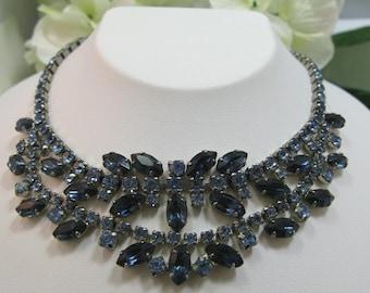 Vintage Blue Rhinestone Choker Necklace