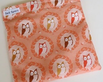 Reusable Eco Friendly Sandwich or Snack Bag Cute Orange Owls