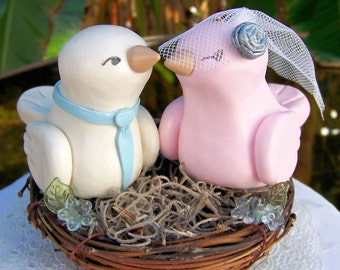 Rustic Love Bird Wedding Cake Topper Nest - White Pink and Blue - Fully Customizable - by Country Squirrels-R-US