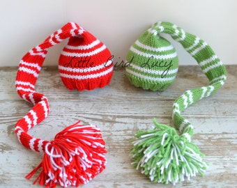 Knit Baby Hat, Christmas Long Stocking Cap, Vintage Stripe, Elf Newborn, Knitted Infant Photo Prop, Twin Set,Red, Green, White, Pixie