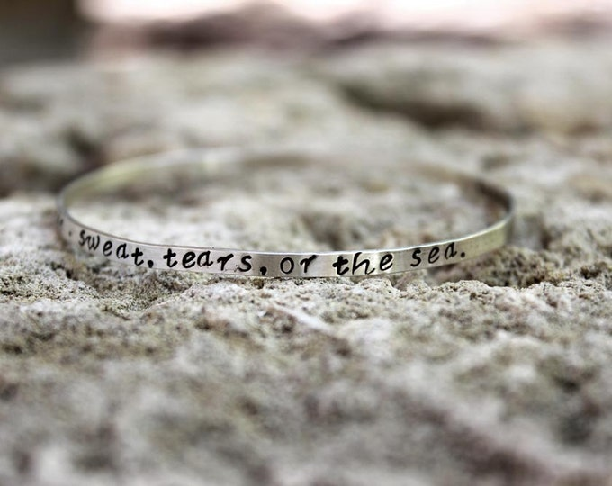 Stamped Script Bangle Bracelet - Personalized with your words