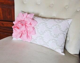 Light Pink Dahlia on Pink Taupe Damask Pillow Lumbar Pillow 9 x 16 Baby Nursery Decor