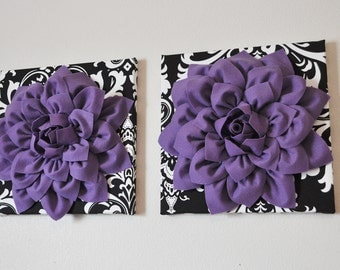 "TWO Flower Wall Hangings-Lavender Dahlia Flowers on Black and White Damask Print 12 x12"" Canvas Wall Art- Baby Nursery Wall Decor-"