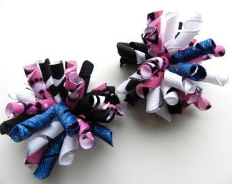 Mini Hair Bow Korker Clip Set (2) Korker Hair Bow perfect for Infant  Toddler and Girls