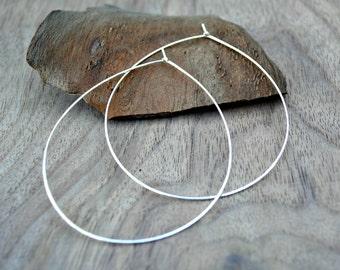 Extra large silver hoops, Thin silver hoop earrings