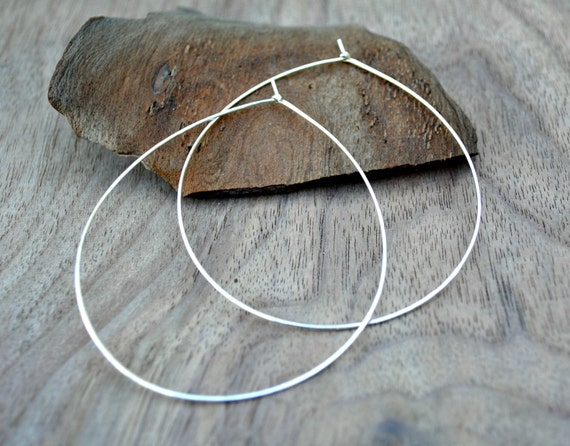 Extra large silver hoops, Thin silver hoop earrings