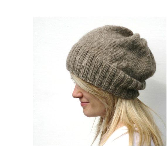 Slouch Hat Knitting Pattern Circular Needles : DK Eco Slouchy Hat Knitting Pattern PDF