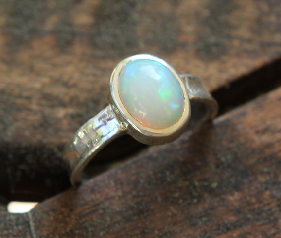 Natural Opal Ring, White Opal Ring, Opal Ring Silver, Opal Engagement Ring, Diamond Alternative, October Birthstone Ring, Opal Promise Ring