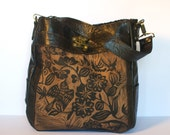 "Large Leather Tote with Sparrow Print ""The Emilie"""