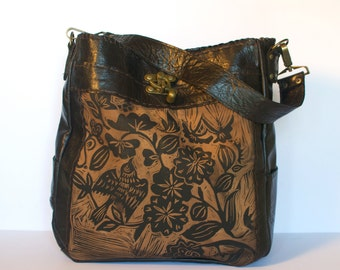 "Leather Tote bag, large, dark brown, espresso, Sparrow floral Print, ""The Emilie"""