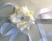 Floral Bridal Sash, Bridal Flower Sash, Bridal Rhinestone Sash , Couture Bridal  Sash, Bridal Wedding Sash, Bridal Wedding Belt